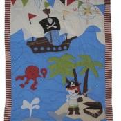 Patchworkdecke 80 cm * 105 cm - Pirat Junge Schiff Baby Decke Kuscheldecke Kinder Plaid Kinderdecke