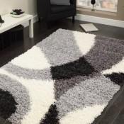 Teppich Hochflor City Shaggy zum TOP Preis Patchwork grau schwarz creme verschiedene Größen (120_x_170_cm)