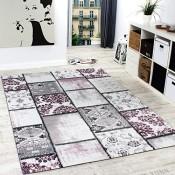Edler Designer Teppich Patchwork Vintage Look Teppich Meliert in Lila Creme, Grösse:200x290 cm